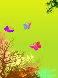 Grunge floral background with many butterflies Royalty Free Stock Image