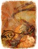 Grunge floral background - orange Stock Image
