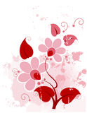 Grunge floral background pink vector illustration