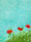 Grunge floral background with poppies Stock Images