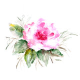 Grunge floral background. Rose. Watercolor floral card. Birthday card Stock Image