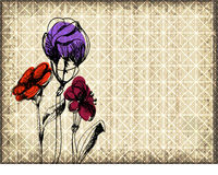 Grunge floral background with three sketched flowers over old paper Royalty Free Stock Image