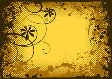 Grunge floral da tinta ilustração stock
