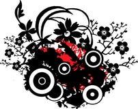 Grunge Floral Design. Red and Black Grunge Floral Design Stock Photography