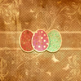 Grunge floral Easter egg background Stock Photos