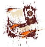 Grunge floral frame royalty free illustration