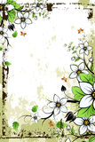 Grunge Floral frame. Grunge Floral Background with Butterfly. Vector illustration Stock Photo