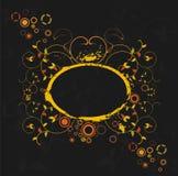 Grunge floral frame on black background Stock Photo