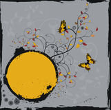 Grunge floral frame with butterflies. Vector illustration stock illustration