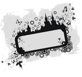 Grunge Floral Frame With Old Town Silhouette Royalty Free Stock Images