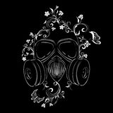 Grunge Floral Gas Mask Stock Photo