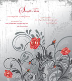Grunge floral invitation card with roses Royalty Free Stock Photo