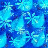 Grunge Floral and Leaf Pattern Collage Graphic. A fluorescent neon blue grunge floral design Royalty Free Stock Photography