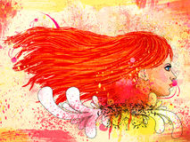 Grunge floral portrait of red haired girl Royalty Free Stock Photography