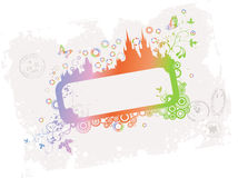 Grunge floral rainbow frame with old town Stock Photos