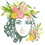Grunge floral vector girl portrait with hand drawn Stock Photo