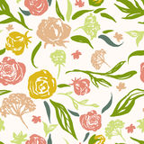 Grunge floral vector pattern with hand drawn Stock Images