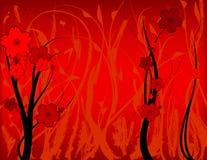 Grunge floral vermelho Foto de Stock
