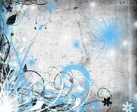 Grunge florale bleue Photographie stock libre de droits