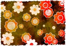 Grunge flowers. Artistic dirt stained grunge textured floral background design stock photo