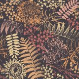Grunge flowers and leaves. On a dark background in seamless pattern Royalty Free Stock Photography