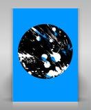 Grunge flyer in blue. Blue flyer with black grunge circle Vector Illustration