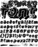 Grunge Font. Original vector grunge alphabet font with alternate versions of some characters and extra grunge texture pieces Stock Photos