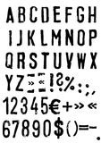 Grunge font. Hand drawn letters and numbers Royalty Free Stock Images