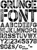 Grunge Font. Original vector grunge alphabet font with authentic hand printed detail. All characters have the same level of detail as enlarged letters on top stock illustration