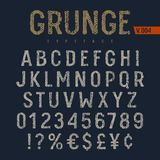 Grunge Font 006. Grunge font. Rough fabric textured alphabet. Latin alphabet letters and numbers. Vectors vector illustration