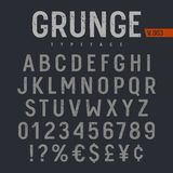 Grunge Font 005. Grunge textured font. Rough stamp textured typeface. Latin alphabet letters and numbers royalty free illustration