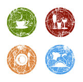 Grunge Food and Kitchen Labels Stock Images