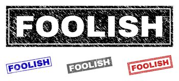 Grunge FOOLISH Scratched Rectangle Watermarks. Grunge FOOLISH rectangle stamp seals isolated on a white background. Rectangular seals with distress texture in vector illustration