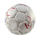 Grunge football. Or soccer ball on white background Stock Photo