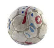 Grunge football. Or soccer ball on white background Stock Image