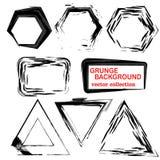 Grunge Formen Dreieck, Quadrat, Hexagon Satz der Hand gezeichnet, Gestaltungselemente nachrichten Stockbild