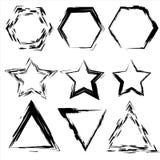 Grunge Formen Stern, Dreieck, Hexagon Satz der Hand gezeichnet, Gestaltungselemente Stockbilder
