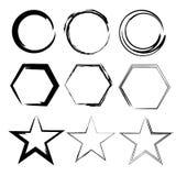 Grunge Formen Stern, Kreis, Hexagon Satz der Hand gezeichnet, Vektorgestaltungselemente Stockfotografie