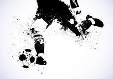 Grunge fotboll går att skjuta stock illustrationer