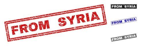 Grunge FRÅN SYRIEN texturerade rektangelvattenstämplar royaltyfri illustrationer