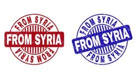 Grunge FRÅN SYRIEN texturerade runda stämplar royaltyfri illustrationer