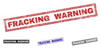 Grunge FRACKING prostokąta znaczka ostrzeżenie Drapać foki ilustracji