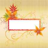 Grunge Frame Background With Autumn Leafs. Royalty Free Stock Photo