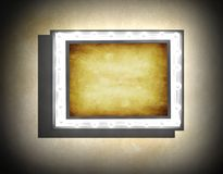 Grunge frame  on  beige  old dirty wall Royalty Free Stock Photos