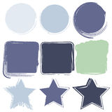 Grunge frame border vector design set in blue green color Stock Photo