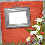 Grunge frame with bunch of flower Royalty Free Stock Images