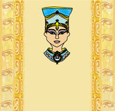 Grunge frame with Egyptian queen Stock Photography