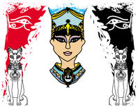 Grunge frame with Egyptian queen Stock Image