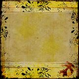 Grunge frame with floral border Royalty Free Stock Photography