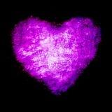 Grunge frame , heart shape purple color, Valentines Day.  Stock Image